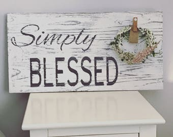 Simply Blessed, farmhouse sign, shabby chic wedding, custom wedding gift, personalized wedding gift, bridal shower gift, shabby chic decor
