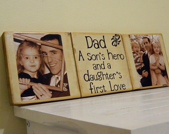Dad a sons hero and a daughters first love, fathers day gift, first fathers day, gift for dad, dad gift from baby. custom fathers day gift