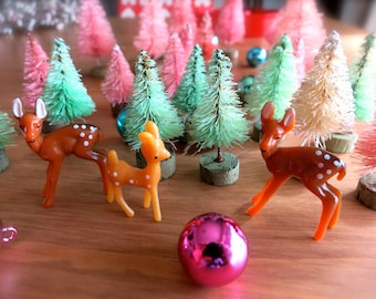 SALE-Mini Plastic Deer-Lot of 3-Very Tiny Forest Deer-DIY Spring Crafting-Easter Terrariums-Small Plastic Deer-Fairy House-Putz Village-Doe