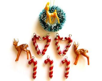 SALE-Mini Plastic Deer-Lot of 3-Very Tiny Forest Deer-DIY Holiday Crafting-Christmas Terrariums-Small Plastic Deer-Fairy House-Putz Village