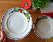 Vintage Poppy Trail Small Plates-Two Colorful Stoneware Saucers by Metlox-Dishes Made in California-Poppy Flower Design Plate-Vintage Saucer