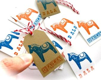 Dala Horse Gift Tags-Baker/'s Dozen 13-Orange /& Blue on White or Kraft Brown-Swedish Stationary-Scandinavian Gift Wrap-DALA-Dala Tags-Sweden