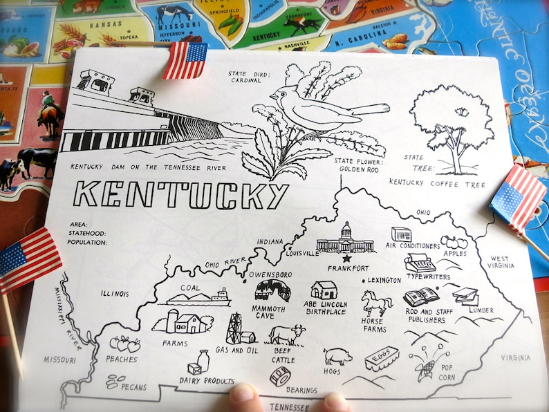 Vintage Kentucky State Map-1980s Kentucky Coloring Book Page-Vintage on kentucky state map, kentucky transport map, kentucky capitol map, kentucky points of interest map, west virginia kentucky border map, kentucky property map, kentucky schools map, kentucky airports map, kentucky highways map, kentucky tourist attractions map, kentucky transportation map, kentucky land use map, kentucky county map ky, kentucky golf courses map, kentucky tourism map, kentucky area map, kentucky time map, kentucky demographics map, kentucky hospitals map, kentucky power plants map,