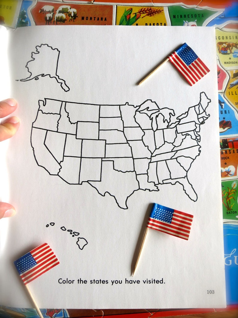 Vintage United States of America Map-1980\'s USA Coloring Book Page-Vintage  Map Print-State Wall Art-Kids\' School Map-Vintage States Ephemera