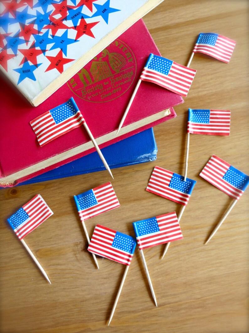 8389d138935c Vintage Miniature American Flags-10 Vintage Tiny USA