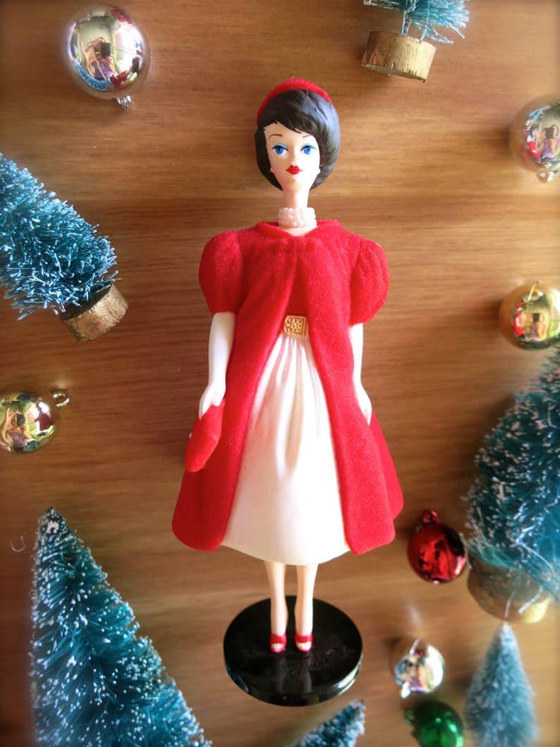 Barbie Christmas Ornament.Sale Vintage Barbie Christmas Ornament Silken Flame Hallmark Barbie Mini Barbie Doll Ornament Holiday Barbie Retro Red Dress Brunette Barbie
