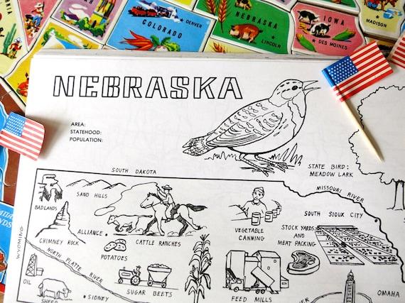 Badlands Nebraska Map.Vintage Nebraska State Map 1980s Nebraska Coloring Book Etsy