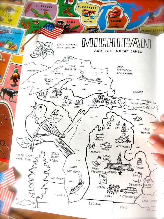 Vintage Michigan State Map-1980\'s Michigan Coloring Book | Etsy