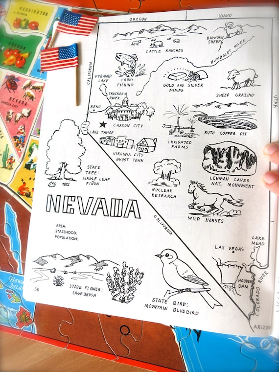 Vintage Nevada State Map-1980s Nevada Coloring Book Page-Vintage Map  Print-State Wall Art Print-Carson City-Las Vegas-Lake Tahoe-Hoover Dam