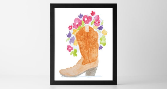 picture about Cowboy Boot Printable titled Printable Cowboy Boot Flower Bouquet Watercolor Wall Artwork, Western Boot and Bouquets Electronic Print Downloadable