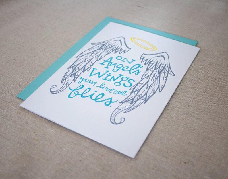 SYMPATHY CARD \u2013 On Angel/'s Wings Card \u2013 HEAVEN Angel Loss Sympathy Funeral Greeting Card