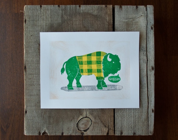 wall art ndsu bison go bison green and yellow linocut print etsy