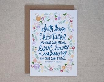 SYMPATHY CARD – Love Leaves A Memory Card – HEARTACHE, Death, Loss, Love, Condolences, Funeral Greeting Card