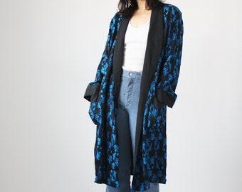 70s Brocade Smoking Jacket Blue and Black Robe Slick Rock and Roll Vintage  VTG SMooth f393d2f2d