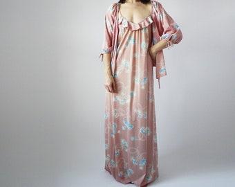 70s Pink Floral Dress Set w Cover Romantic Disco Doll Ruffle SLip Dress Vintage  VTG 44c1b40df