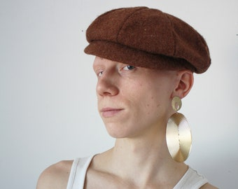 60s Pageboy Wool Cap Harris Tweed Handwoven Scottish Wool Vintage Winter  Newsboy Hat 28147b9cab65