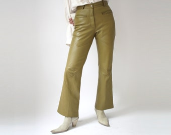 fcde56384bf628 70s Green Leather Bell Bottoms Vintage Groovy Baby Pale olive Green  Chartreuse Hippie Boho