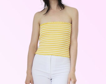 299061ad294 70s Tube Top VTG Yellow and White Striped Stretchy Classic Vintage Summer  Coachella Disco Sunshine