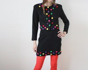 90s Major Vintage Set Black and Embellished Colorful Highwaist Mini Skirt  Cropped Jacket Cher Clueless AS IF VTG 3e2165bf4
