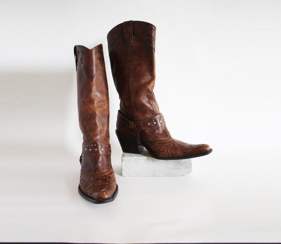 90s Vintage Cowboy Boots with Ankle Boot Straps Le