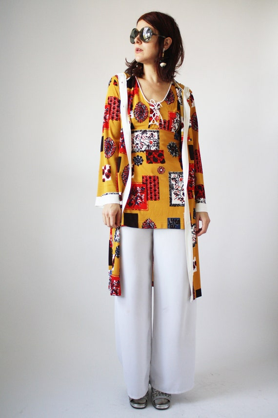 60s Go Go Dress and Hooded Robe Set Yellow Brown a