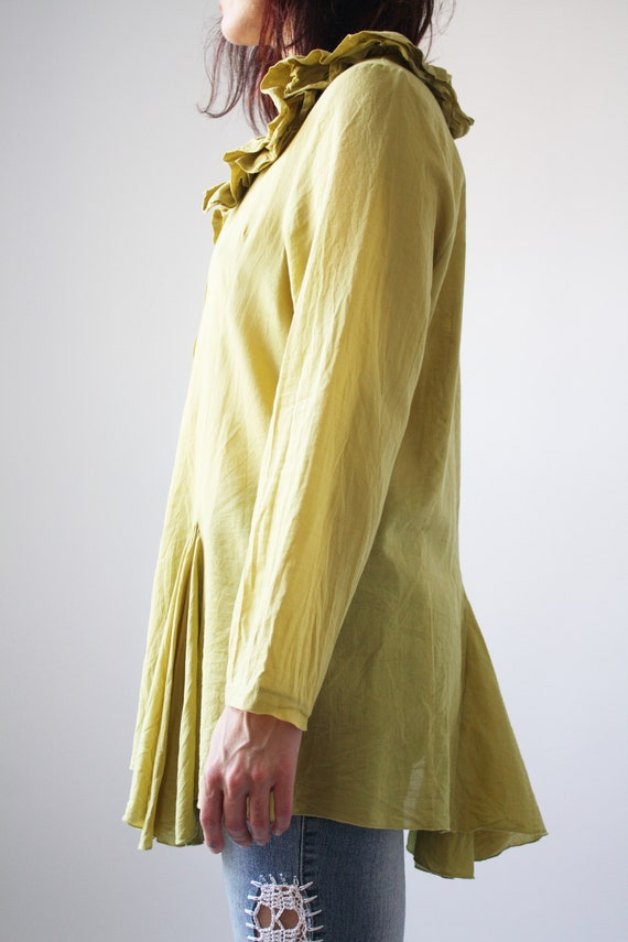 90s Light Green Cotton Blouse with Ruffle collar … - image 4