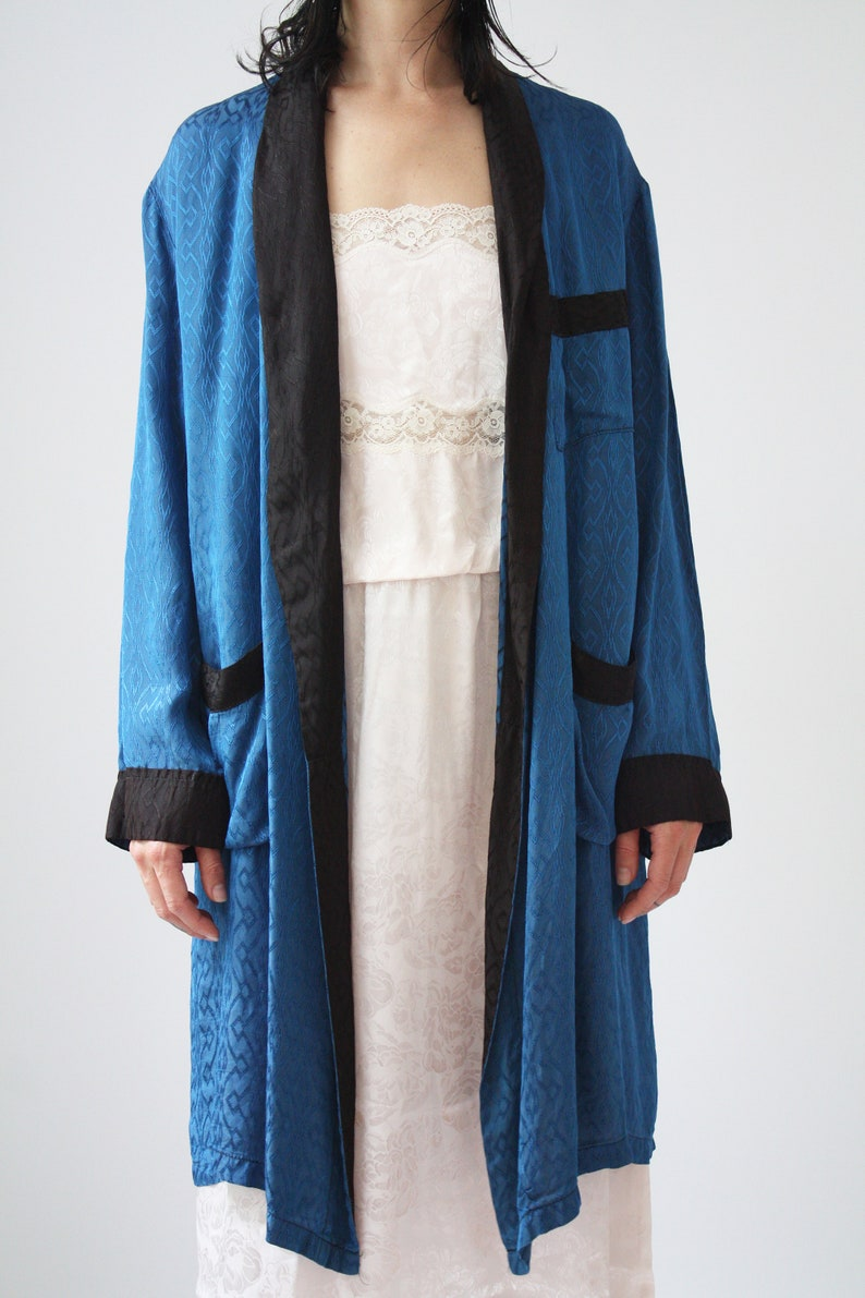 70s Satin Smoking Jacket Vintage Damask Robe Black And Blue Satin Lux Robe Evening Wear Classy