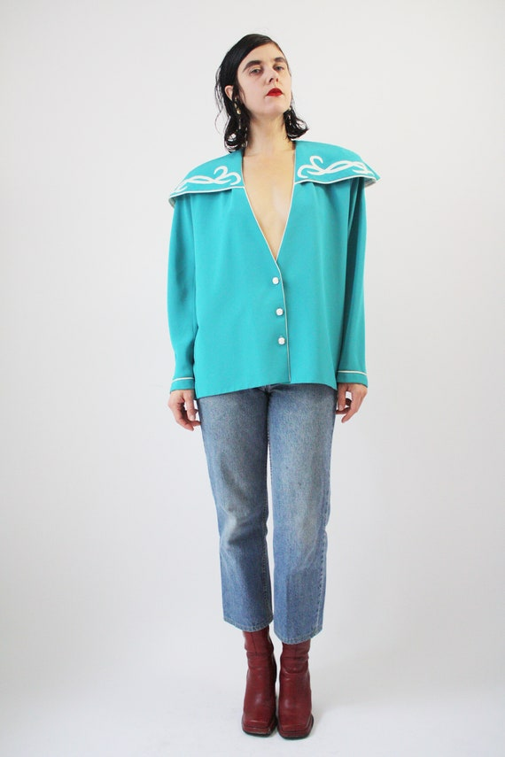 80s Major Statement Blouse Jade Blue Green with m… - image 1