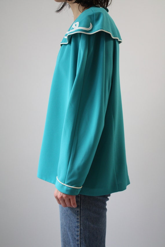 80s Major Statement Blouse Jade Blue Green with m… - image 3