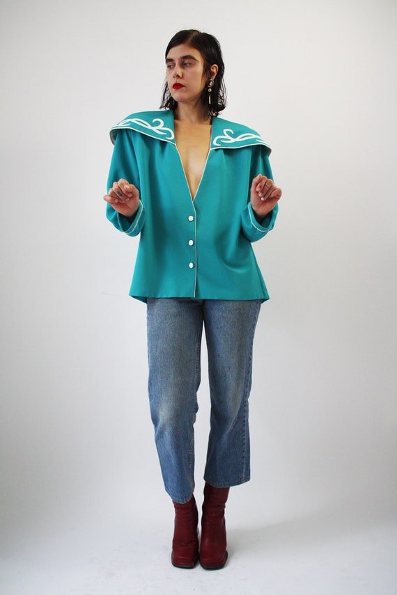 80s Major Statement Blouse Jade Blue Green with m… - image 5