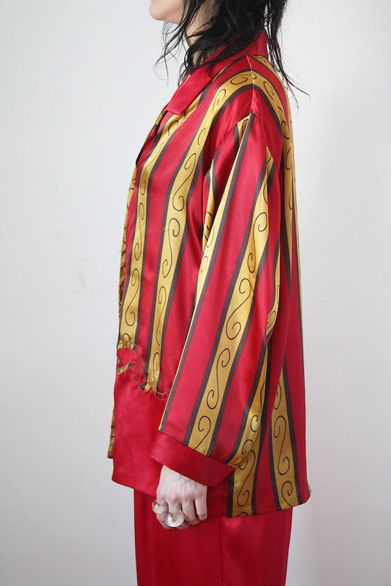 80s Vintage Satin Pyjama Set Red and Gold w Embroidery VTG  d874b05dc
