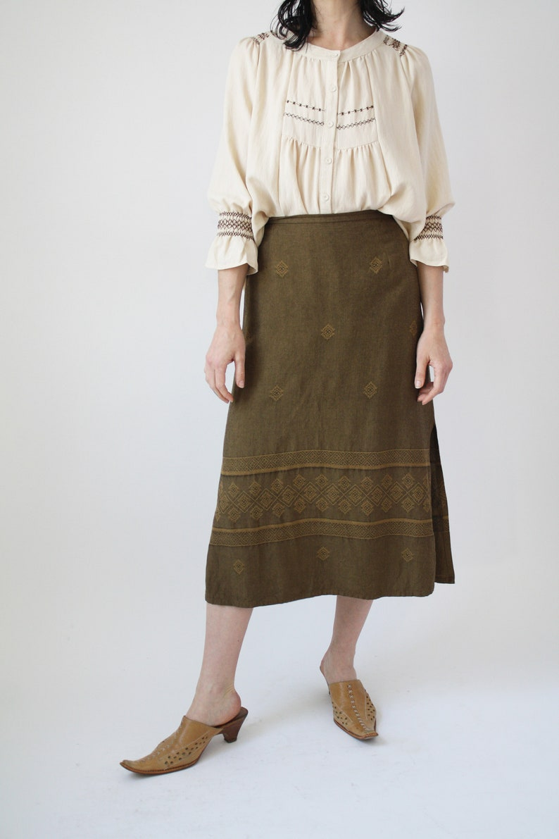 90s Linen and Rayon SKirt Beautiful Weave Woven Fabric Vintage VTG