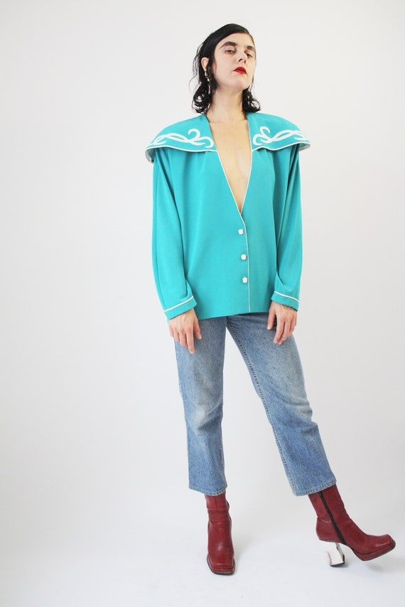 80s Major Statement Blouse Jade Blue Green with m… - image 6