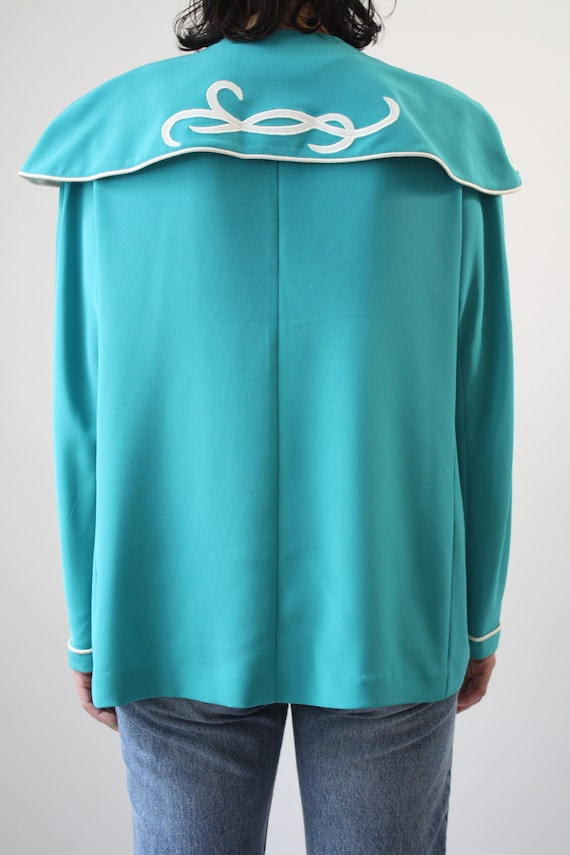 80s Major Statement Blouse Jade Blue Green with m… - image 4