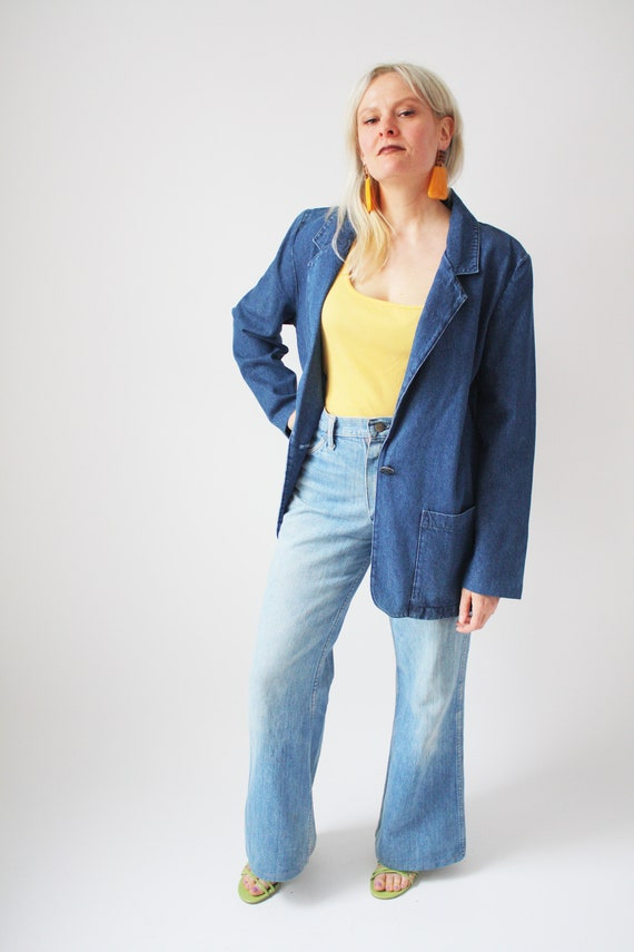 80s Denim Blazer Jacket Boxy Shape Boyfriend Blaze