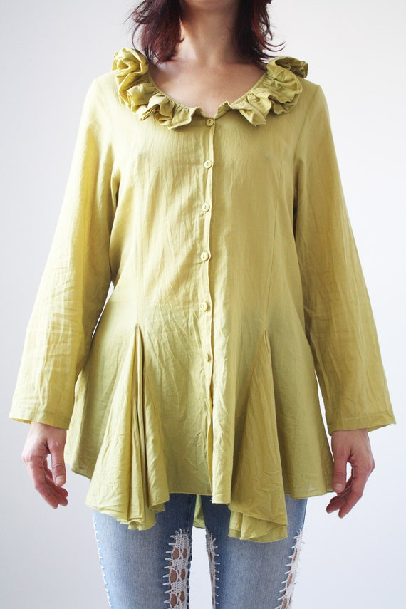90s Light Green Cotton Blouse with Ruffle collar … - image 3