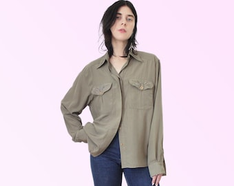 80s Army style button up Blouse Embroidery Femme Flowers Button Up Long Sleeve