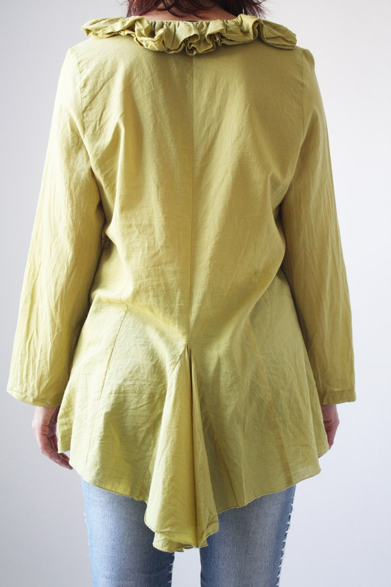 90s Light Green Cotton Blouse with Ruffle collar … - image 5