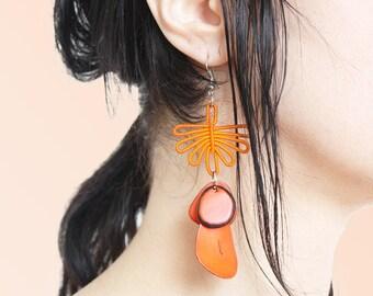 80s Orange Tagua Nut Bead and Chord Earrings Bright Beautiful Artisanal Drop Earrings