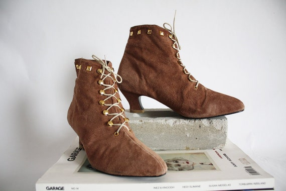 80s vintage Suede Ankle Boot Lace up Madonna della Laterite
