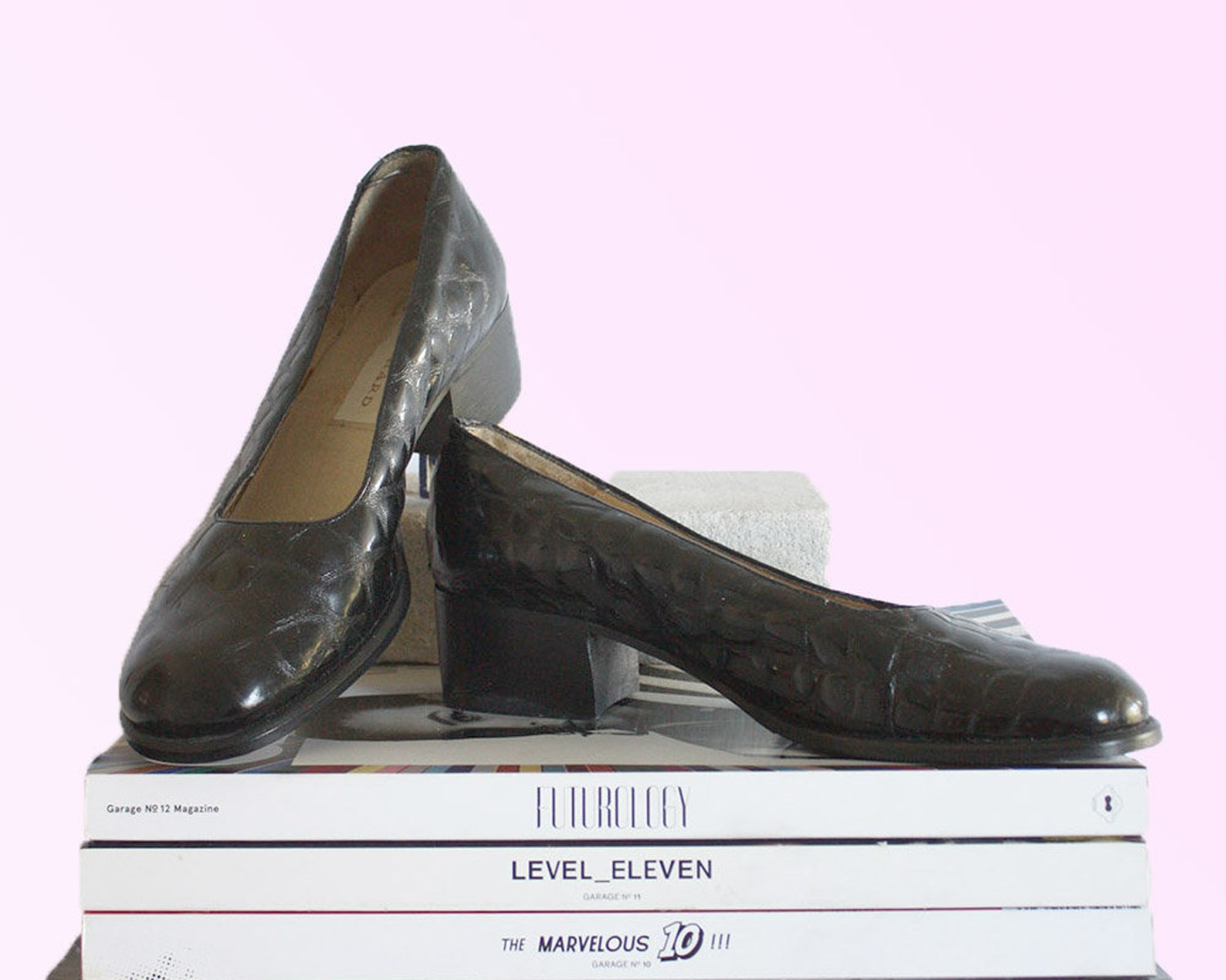 80s black patent leather ballet pumps rounded toe croc print sleek chic city girl