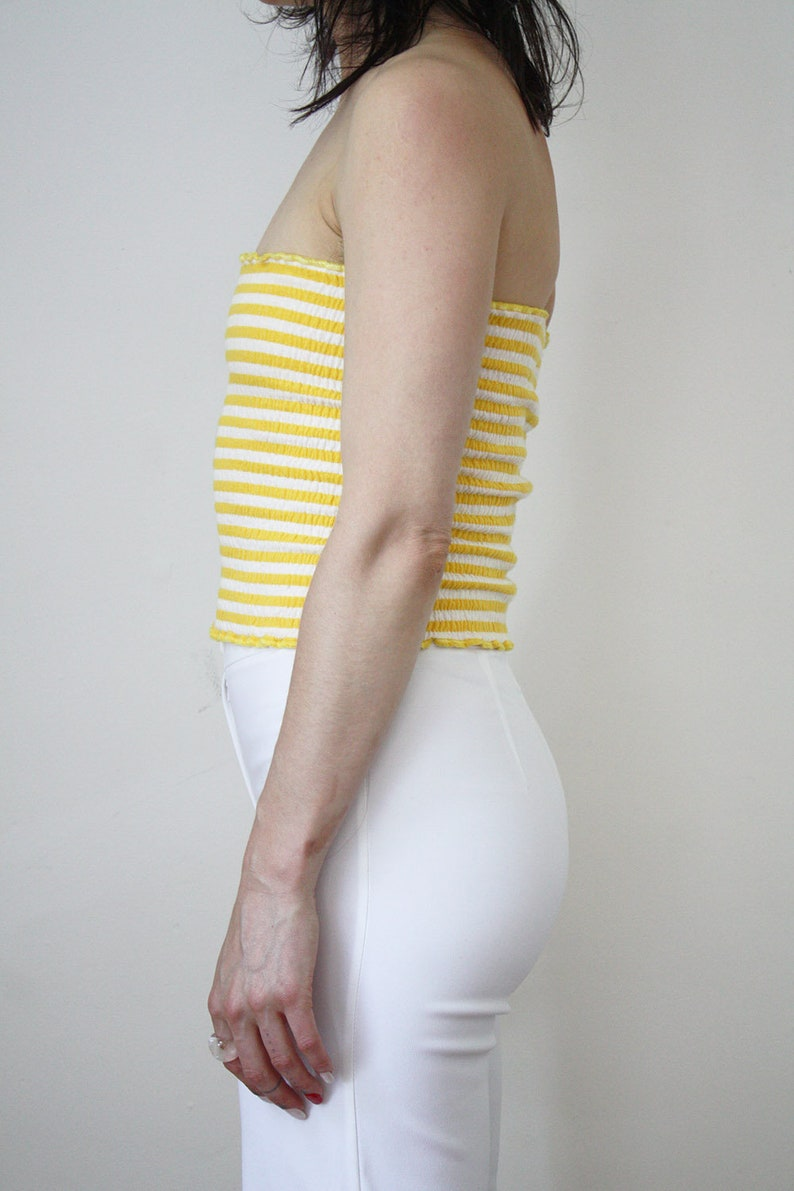 6cfd97eee39 70s Tube Top VTG Yellow and White Striped Stretchy Classic