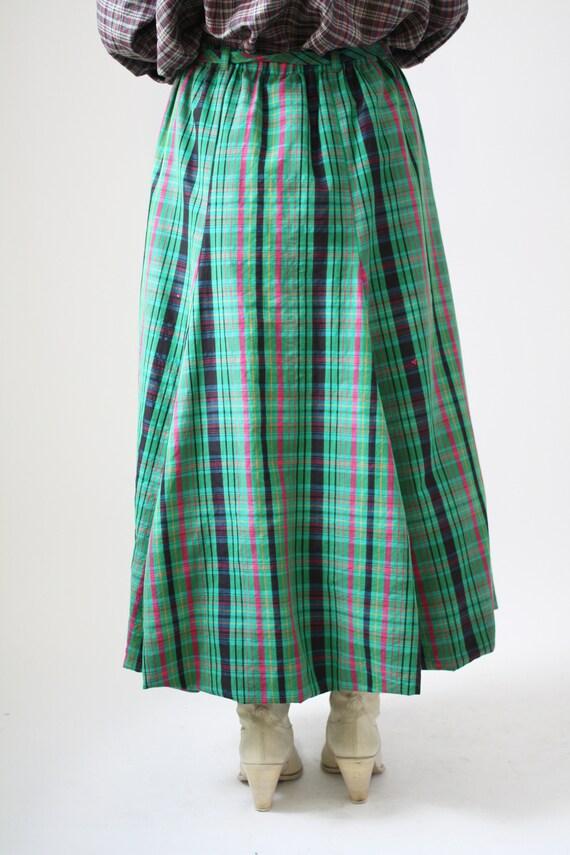 90s Green Plaid Bubble Skirt Cotton Vintage VTG summer Vibrant Pattern