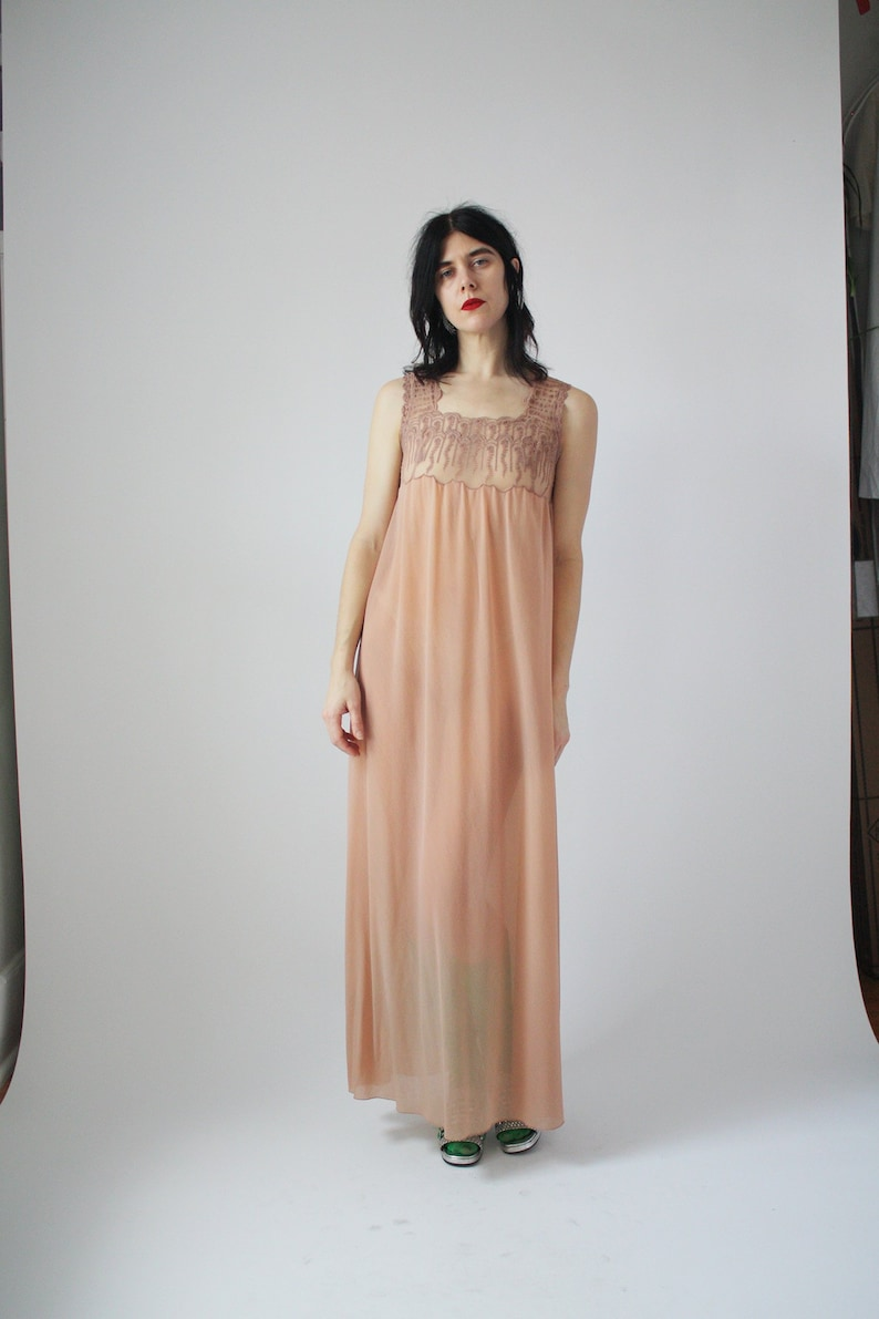 7890e6b89dad 70s Slip Dress Beige Lace Night Gown Sheer Dress Neutral Skin | Etsy