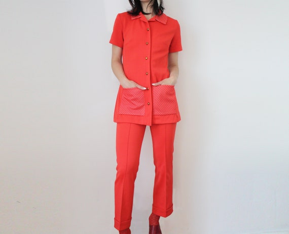 70s Red Suit Set Suburbia Housewife Kitsch Cute Polka Dots  cd9400ca9