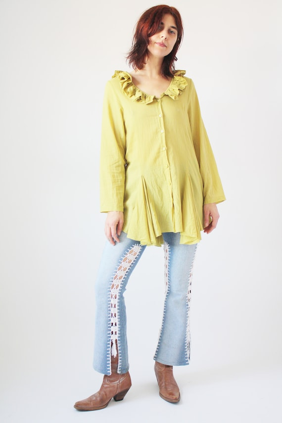 90s Light Green Cotton Blouse with Ruffle collar … - image 6