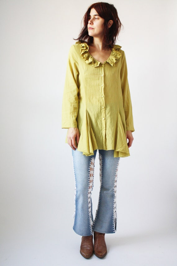 90s Light Green Cotton Blouse with Ruffle collar T