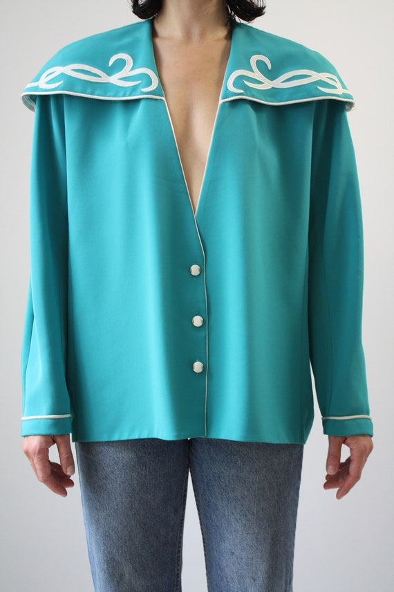 80s Major Statement Blouse Jade Blue Green with m… - image 2
