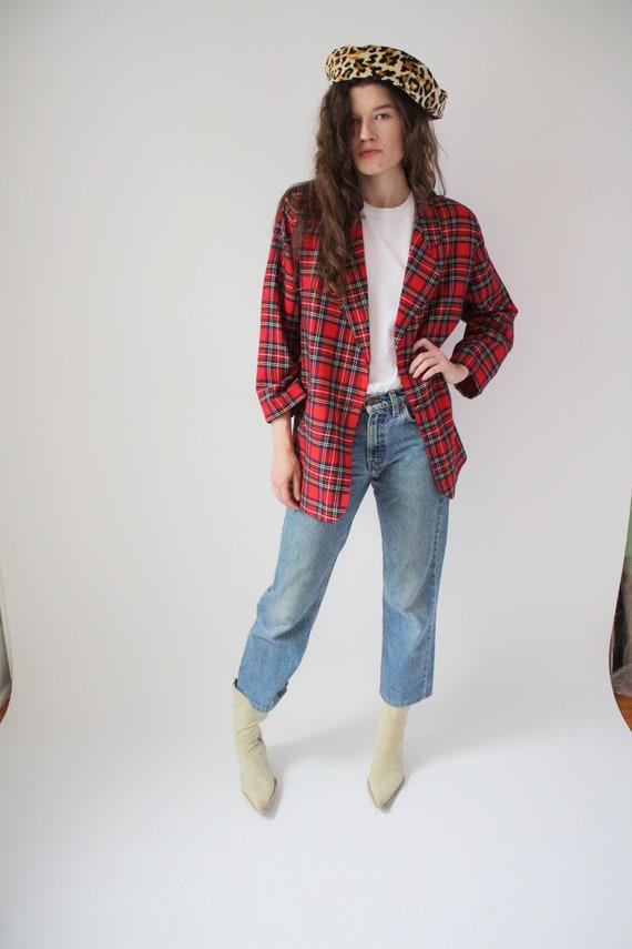 80s Red Plaid Blazer Vintage Square shoulder Power