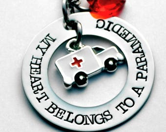 My Heart Belongs to a Paramedic - EMT Necklace or key ring - Paramedic Necklace - Choice of birthstone heart - See note in Photo #3